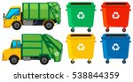 rubbish truck and cans in four...   Shutterstock .eps vector #538844359