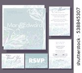 set of wedding cards or... | Shutterstock .eps vector #538845307