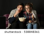 young couple watching a movie... | Shutterstock . vector #538848361