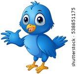 Stock vector vector illustration of cute blue bird cartoon 538851175