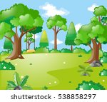 park scene with many trees and... | Shutterstock .eps vector #538858297