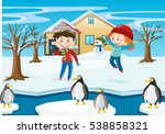 winter scene with kids and... | Shutterstock .eps vector #538858321