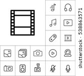 thin line filmstrip video icon... | Shutterstock .eps vector #538863571
