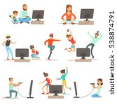 people playing video games with ... | Shutterstock .eps vector #538874791