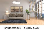 interior with sofa. 3d... | Shutterstock . vector #538875631