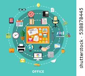 office decorative icons set in... | Shutterstock .eps vector #538878445