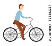 young man riding bicycle  flat... | Shutterstock .eps vector #538883287