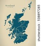 modern map   scotland with... | Shutterstock . vector #538897285