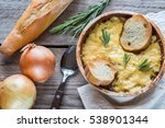 bowl of onion soup on the... | Shutterstock . vector #538901344