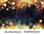 gold and dark blue fireworks... | Shutterstock . vector #538903024