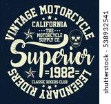 vintage motorcycle  california  ... | Shutterstock .eps vector #538932541