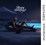 santa claus by the pool with a... | Shutterstock . vector #538941955