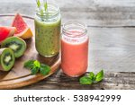 glass jars of fruit  smoothies | Shutterstock . vector #538942999