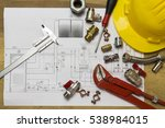 office desk with hydraulic... | Shutterstock . vector #538984015