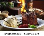 chocolate cake with fresh  ice...