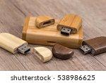 Wooden Usb Flash Drive On Desk