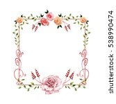 wildflower rose flower frame in ... | Shutterstock . vector #538990474