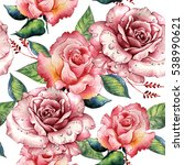 wildflower rose flower pattern... | Shutterstock . vector #538990621