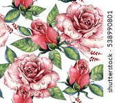 wildflower rose flower pattern... | Shutterstock . vector #538990801