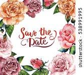 wildflower rose flower frame in ... | Shutterstock . vector #538991995