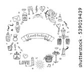 hand drawn doodle love and... | Shutterstock .eps vector #539019439