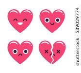 cute cartoon emoticon hearts...   Shutterstock . vector #539029774