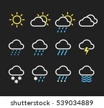 weather line icons set. sunny ... | Shutterstock .eps vector #539034889