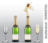champagne bottle and champagne... | Shutterstock .eps vector #539045701