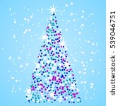 christmas tree sparkles in the... | Shutterstock .eps vector #539046751