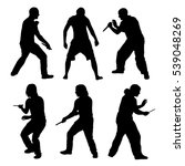 set of silhouettes of fighting... | Shutterstock .eps vector #539048269