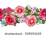 Stock photo horizontal floral border pattern seamless flower garland of roses camellia and delicate 539053105