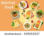 popular meat and fish dishes...   Shutterstock .eps vector #539053537