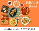 meat and seafood dinner dishes... | Shutterstock .eps vector #539053561
