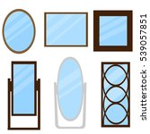 set of mirrors with wooden frame | Shutterstock .eps vector #539057851