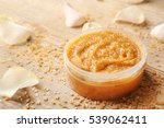 body scrub  petals and sugar on ... | Shutterstock . vector #539062411