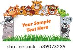 wild animals with paper sign.... | Shutterstock .eps vector #539078239