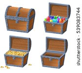 wooden chest set | Shutterstock .eps vector #539083744