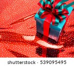 colorful color gift box on red ... | Shutterstock . vector #539095495
