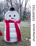 Snowman Made From Tires.