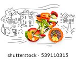 healthy food concept of a... | Shutterstock . vector #539110315