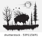 Abstract buffalo walking in the strange forest.Hand drawn vector illustration - stock vector