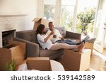couple on sofa taking a break... | Shutterstock . vector #539142589