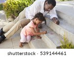 grandfather and granddaughter... | Shutterstock . vector #539144461