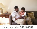 grandfather and granddaughter... | Shutterstock . vector #539144539