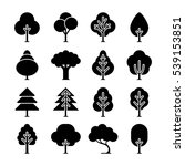 black tree icons set.... | Shutterstock . vector #539153851