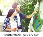 young travelling couple ... | Shutterstock . vector #539177569
