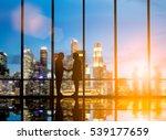 silhouette businessmen shake... | Shutterstock . vector #539177659