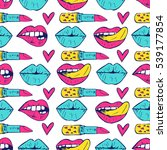 seamless pattern with lips ... | Shutterstock .eps vector #539177854