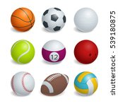 isometric sports balls set.... | Shutterstock . vector #539180875