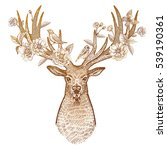 head of deer with big horns... | Shutterstock .eps vector #539190361